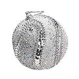ODJOY-FAN Paillette Perlenkette Hochgradige Weihnachtskugeln Weihnachten Strass Funkeln Kugeln Bälle Weihnachten Baum Ornament Dekoration Ball 8CM(Silber,1 PC)