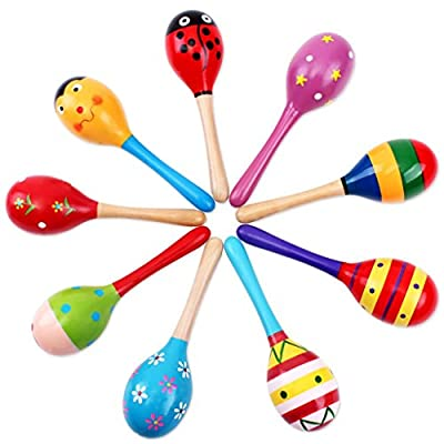 JUNGEN Toddler Rattle Sand Hammers Sound Toys for Baby Wooden Rattle Random Colour 1-Pack : everything five pounds (or less!)