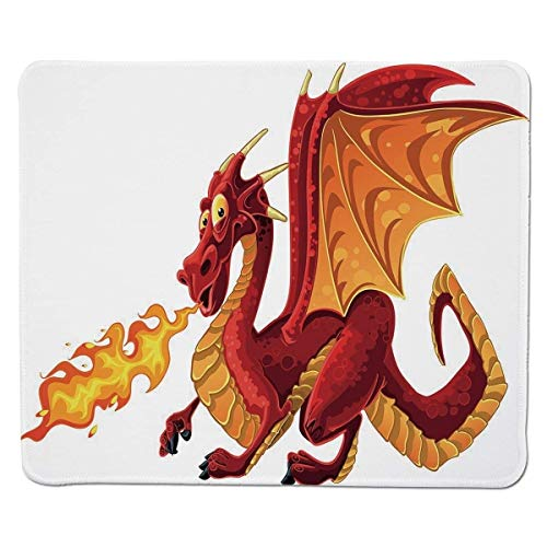 Yanteng Gaming Mouse Pad Drache, Funny Fire Spitting Winged Cartoon Maskottchen Spielzimmer Childish Prinzessin Illustration, Orange Rot genähter Rand