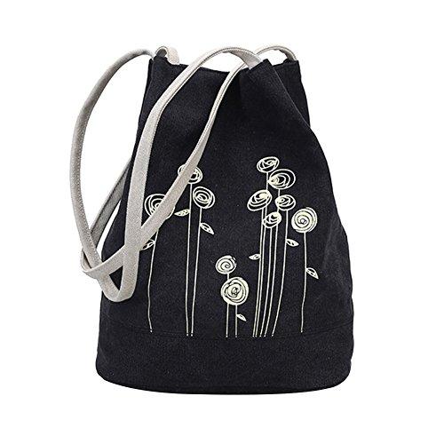Fashion Damen Canvas Blumen Muster Umhängetasche Single Schulter Eimer Tasche schwarz schwarz (Bucket Tote Fashion)