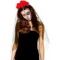 """La Femme """"Day of the Dead"""" Veil avec des fleurs Halloween Accessoire ..."""
