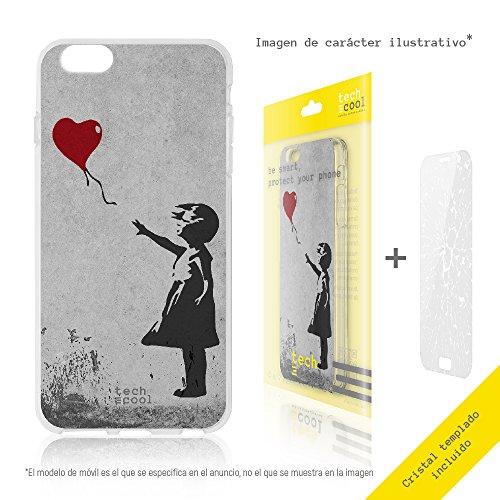FunnyTech® Set Funda Gel TPU para Iphone 8 Plus [Gel Silicona Flexible Alta Calidad] [Ultra Slim 1,5mm] [Diseño Exclusivo, Impresión Alta Definición] + [Cristal Templado 0,3mm, HD, 9H] [Bansky Graffiti niña globo]