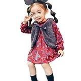 OverDose Damen 2018 Neugeborenen Baby Mädchen Cartoon Warme Prinzessin Liebhaber Print Kleid + Weste Outfits Kleidung Set(W1Weinrot,12M)