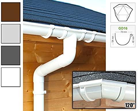 Plastic guttering kit for hexagonal roof (6 roofsides)   GD16   in 4 colours! (All-in-one set up to 14,00 m,