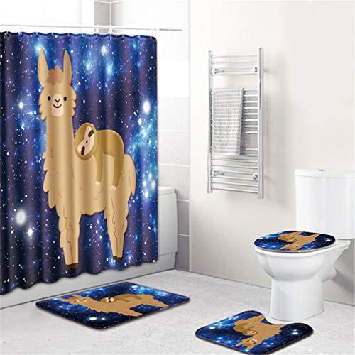 4 Stücke Duschvorhang Bad Teppich Set, Nette Alpaka Muster Toilettendeckel Badematte Set Bad-Accessoires Vorhänge mit Haken,3