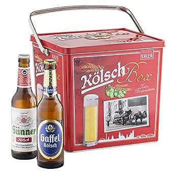 Kalea Kölsch Box, 11 ausgewählte Kölsch-Biere und 1 Kölsch Stange, verpackt in einer hochwertigen Metallbox, (11 x 0,33 l und 1 x Glas)