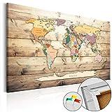 murando – Lavagna di sughero 90x60 cm - 1 Parte - Quadro su tela – Poster Mappa del mondo quadro con tappo poster k-B-0009-p-b