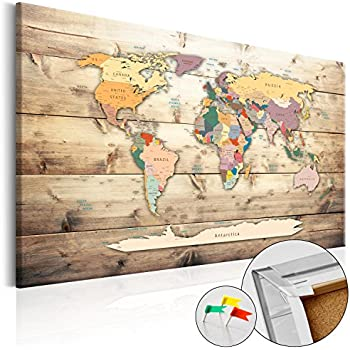 murando World map with pinboard 90x60 cm 1 Piece Print on Canvas Beaverboard Canvas Practical pinboard to Pinching Your Notes World map k-A-0130-v-a