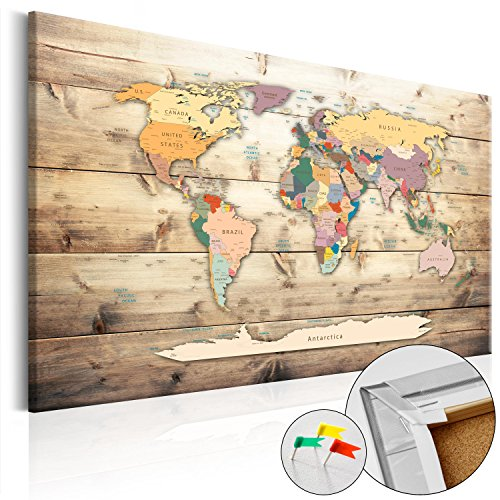 Novitá! Lavagna di sughero 120x80 cm - Tre colori da scegliere - 1 Parti - Quadro su tela Poster Mappa del mondo quadro con tappo poster k-B-0009-p-b 120x80 cm B&D XXL
