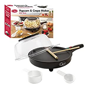 Quest 2-in-1 Popcorn & French Crêpe Pancake Maker, Non-Stick 8 Inch Electric Pan with Batter Spreader - Also Cooks Eggs, Omelettes & Flatbreads.