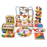 Moonvvin Perles en Bois Maze Roller Coaster Jouet éducatif Mathématique et bâtonnets pour Apprendre Cube Bloquer Puzzles Jouets pour Enfants Tout-Petits Enfants garçons Filles