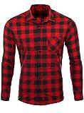 Reslad Hemd kariert Herren Vintage Holzfällerhemd Karo-Hemd Flanellhemd Männer Langarm Checked Flanell Shirt RS-7113 Rot-Schwarz S