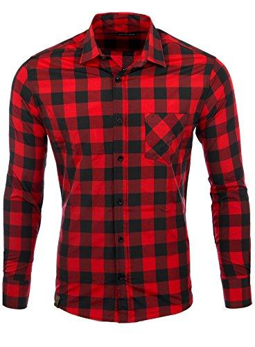 Reslad Hemd kariert Herren Vintage Holzfällerhemd Karo-Hemd Flanellhemd Männer Langarm Checked Flanell Shirt RS-7113 Rot-Schwarz M
