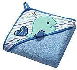 Baby Badehandtuch mit Kapuze FROTTEE / Kinder Kapuzenhandtuch 100x100cm 7316 (Blau / Wale)
