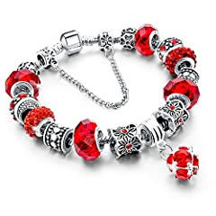 Idea Regalo - Beloved Braccialetto da donna con cristalli - bracciale compatibile pandora - beads e charms - bead placcate argento, in vetro e cristalli - con catena decorativa - charm pendente (Rosso)
