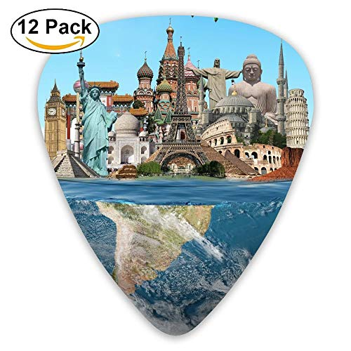 World Tourist Attractions Statue Of Liberty Paris Tower Guitar Pick 12pack