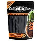 FLEXILACES - Flache Elastische Schnürsenkel | Spannung Einstellbar | Viele Farben | Nie Wieder Schuhbänder Binden | Passend für Alle Schuhe - Dunkel-Grau