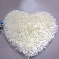 LUFA Tappeto morbido imbottito a forma di cuore a sbalzo antiscivolo Tappeto a pavimento in tappeto da area tappeto Bianco cremoso e 30 * 40cm