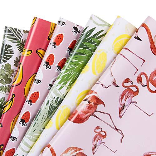 RUSPEPA Geschenkpapier Blatt - Flamingo/Pflanzen/Banane/Erdbeere/Zitrone/Blatt Sommer Design Für Geburtstag, Urlaub, Babyparty - 6 Blatt - 44.5Cm X 70Cm Pro Blatt (Paper Wrap Roll)