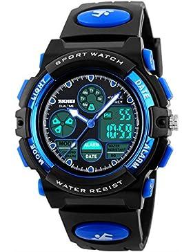 [Gesponsert]Armbanduhr Jungen Kinder Mädchen Sportuhren Digital Analog 50M Wasserdicht Wecker Dual Display Zeitzone Datum...