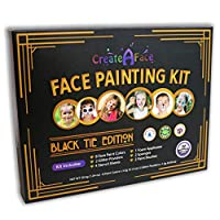 Create A Face Painting Set With Stencils (Black Tie Edition, 47-Piece) Brushes, Glitter and Applicators Included - 100 Percent Safe Paint, Water Activated - Perfect For Parties
