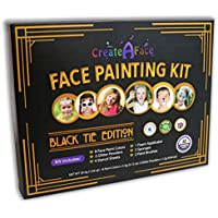 Face Paint Painting Set With Stencils (Black Tie Edition, 47-Piece Kit) Brushes, Glitter & Applicators Included - 100% Safe, Water Activated - Perfect For Parties