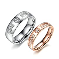 Stainless Steel Couple Rings Cubic Zirconia Wedding Rings Set of 2 Pieces Women Size N 1/2 & Men Size T 1/2