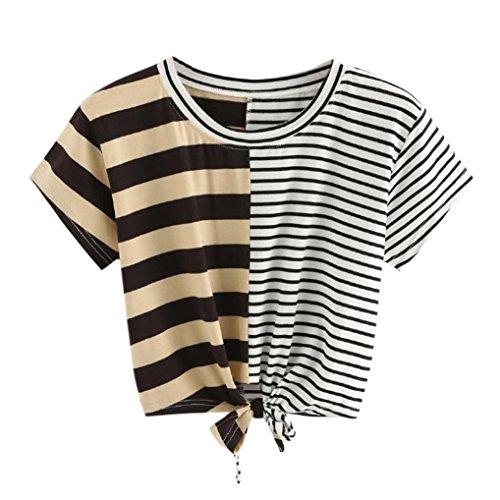 Streifen Bandage (2018 Damen Shirt Kurzarm Ronamick O-Ausschnitt Streifen Splice Bandagen Fliege Kurzarm-T-Shirt (Beige, S))