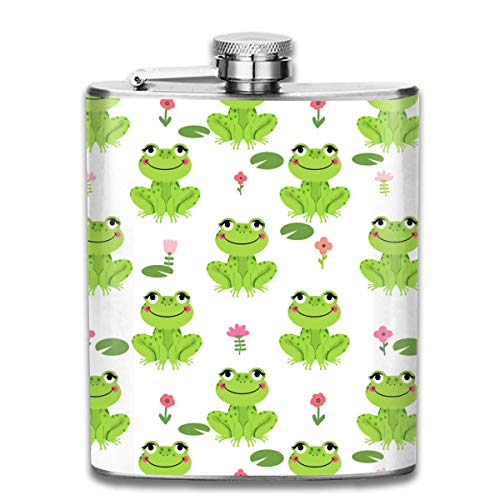 Frogs Florals Cute Animal Wine Flasks Hip Flask with Funnel Stainless Steel 7 OZ Multicolor