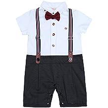 iEFiEL Conjunto Pelele Pantalones de Tirante a Cuadros Mono Algodón Traje Bautizo Fiesta Boda para Bebé Niño (9-24 Meses) Nacién Nacido