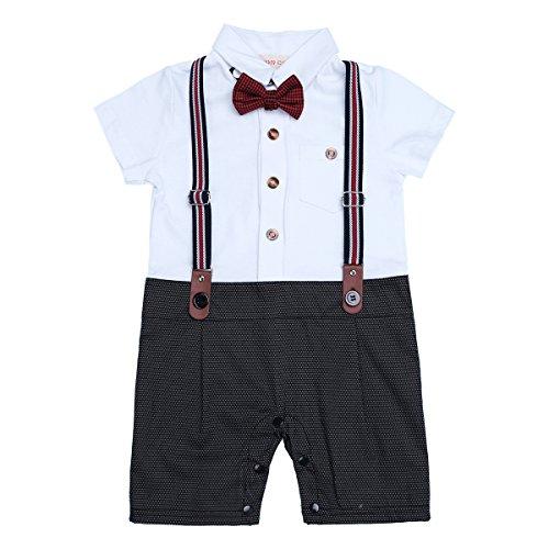 iEFiEL Conjunto Pelele Pantalones de Tirante a Cuadros Mono Algodón Traje Bautizo Fiesta Boda para Bebé Niño (9-24 Meses) Nacién Nacido Negro 9-12 Meses