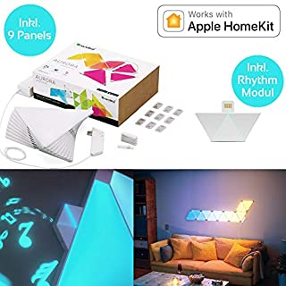 nanoleaf Aurora & Rhythm Starter Kit LED RGBW Farbwechsel-LED & Sound-Modul Starter Set inkl. 9 Panel | App-Steuerung | 16 Millionen Farben | Kompatibel mit amazon Alexa/Echo, Apple HomeKit & Android