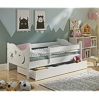 Preisvergleich für KATIDO Kinderbett Massivholz Mond und Sterne Weiß 140x70 oder 160x80 Matratze Schublade Lattenrost