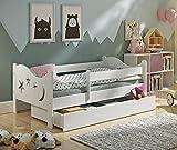 KATIDO Kinderbett Massivholz Mond und Sterne Weiß 140x70 oder 160x80 Matratze Schublade Lattenrost (160x80)