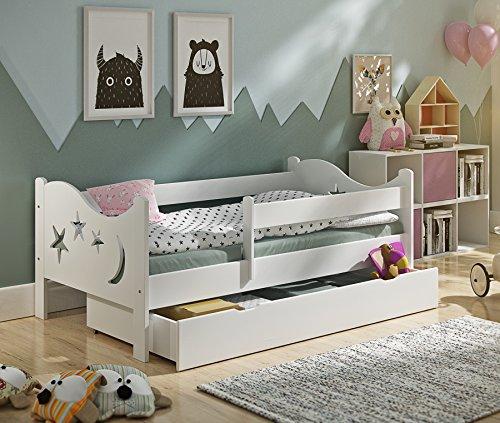 KATIDO Kinderbett Massivholz Mond und Sterne Weiß 140x70 oder 160x80 Matratze Schublade Lattenrost (160x80) - Matratze Nachricht