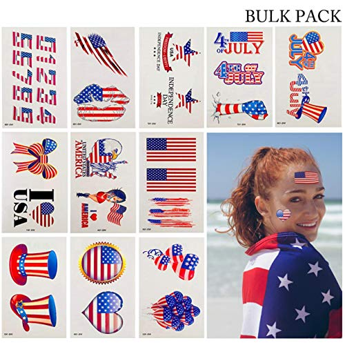 Artilife 20 Blatt Patriotische Tattoo Sticker 4. Juli Party Supplies USA Flaggen rot weiß blau temporäre Tattoos Amerika Unabhängigkeit Tag Party Dekoration Bulk America Tattoo Stickers (In Bulk Dekorationen)