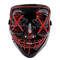Zinniaya Halloween Festival El Cold Light Mask Blood Scary Thriller Cold Led Light Mask Role Playing Radiance Mask