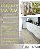 Läufer Home grün 80x200 cm - pflegeleichter Flachgewebe Teppich für drinnen und draußen