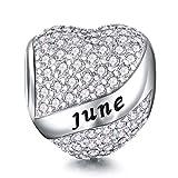 DALARAN Birthstone Charms fit Pandora Charms Bracelet 925 Sterling Silver Heart Bead Charms