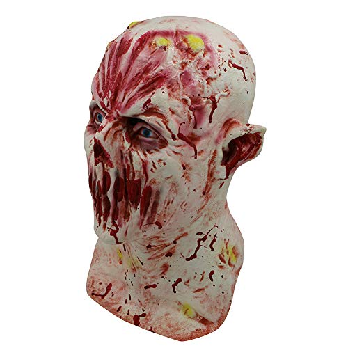 LHJ Halloween Spukhaus Terroristen Requisiten Variation Teufel Taro Maske Walking Dead Head Set Bloodsucking Zombie Dead Head,Flesh,OneSize