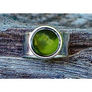 Bottled Up Designs Recycelte Vintage Olive Weinflasche Glas Edelstein verstellbarer Ring