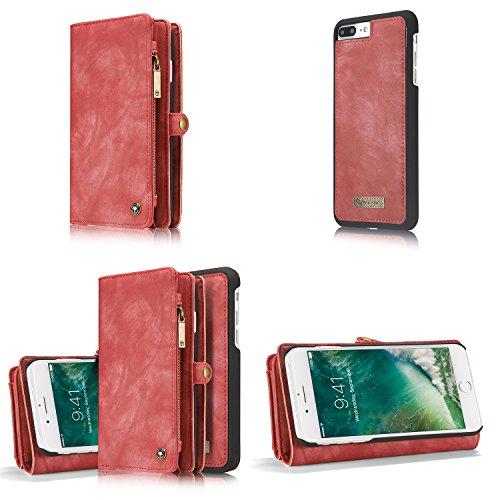 iPhone 5.5 7plus Wallet Case Cover con slot per schede, blu, scomparto per banconote con copertura del telefono zip Premium rimovibile cellule magnetica Red - IPhone 7 Plus