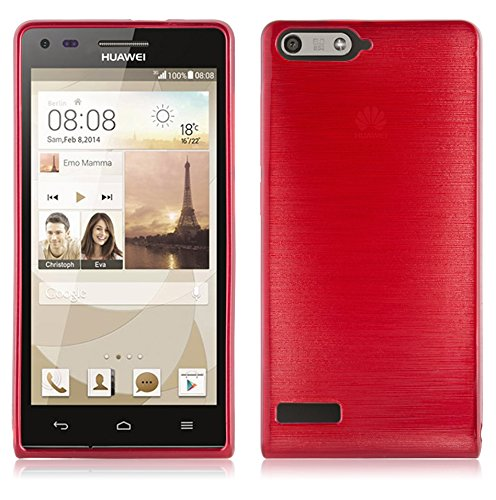 Cadorabo DE-105026 Huawei Ascend P7 Mini Handyhülle aus TPU Silikon in gebürsteter Edelstahloptik (Brushed) Rot