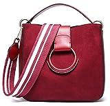 SAIERLONG Damen Rotwein Echtes Leder Handtaschen Schultertaschen
