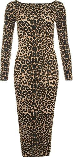 Leopard Design Kleid (WearAll - Damen Tier Leopard Print Stretch Langarm Bodycon Midikleid - Braun - 36-38)