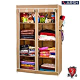 #9: Arsh Portable And Collapsible Wardrobe Metal Frame 8 Racks Closet, Aw08, Beige With High Capacity Up To 70Kgs