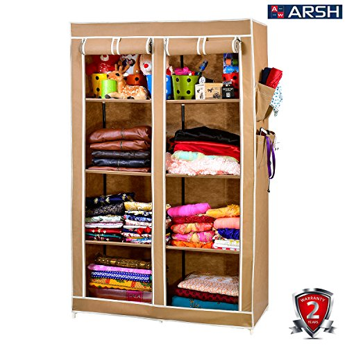 Arsh Portable And Collapsible Wardrobe Metal Frame 8 Racks Closet, Aw08, Beige With High Capacity Up To 70Kgs