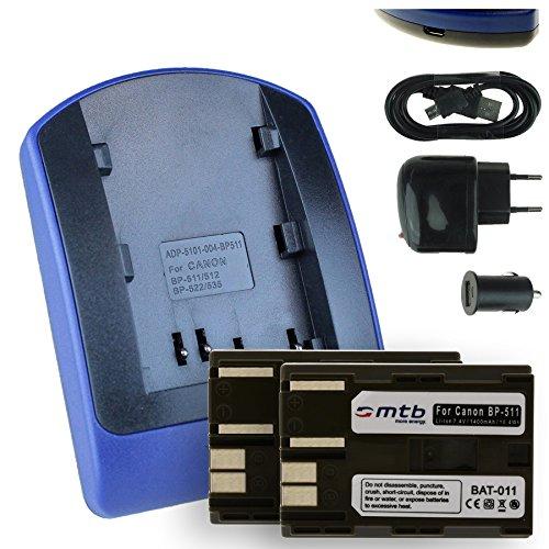 2 Batterie + Caricabatteria (USB/Auto/Corrente) BP-511 per Canon / EOS 5D 10D 20D 30D / Powershot Optura., v. lista