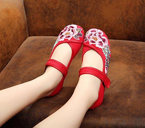 Gxs Chaussures Brodées, Lin, Rideaux Simples, Style Ethnique, Chaussures Femmes, Mode, Confortable, Chaussures De Danse Rouge
