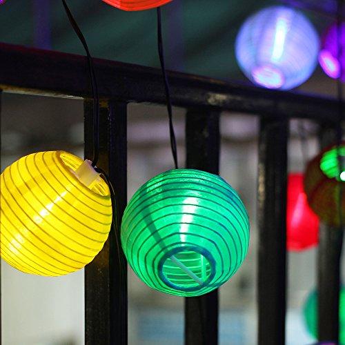 InnooTech 20er LED Solar Lichterkette Lampions Garten Aussen Innen 3,3 Meter Bunt